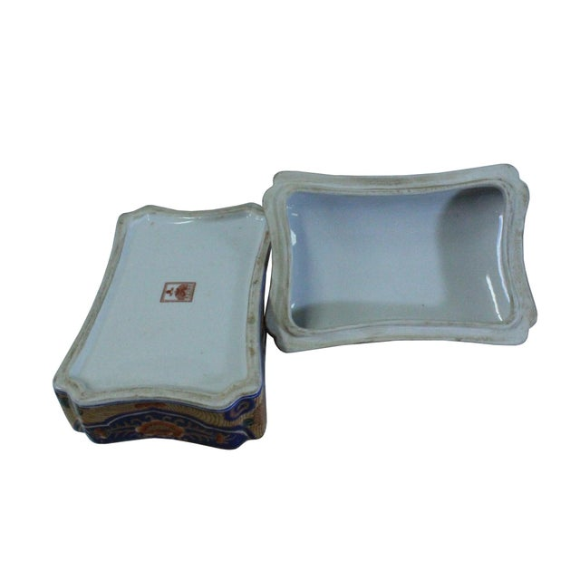 Chinese Vintage Oriental Flower Graphic Porcelain Rectangular Box Container For Sale - Image 3 of 7