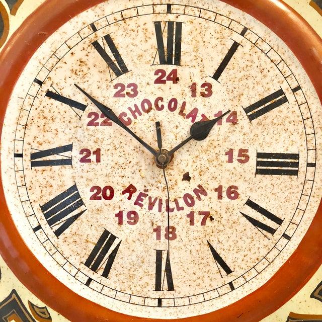 Enamel Vintage Tolework Chocolate Revillon Clock For Sale - Image 7 of 10