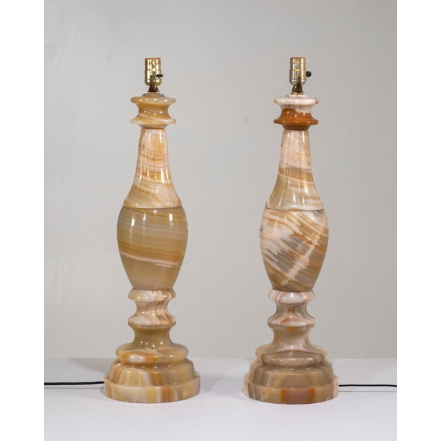 Neoclassical 1960s Large Scale Neoclassical Onyx Table Lamps - a Pair For Sale - Image 3 of 13