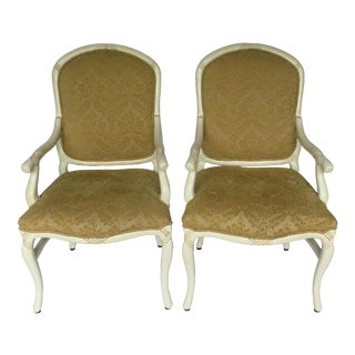 1970s Vintage French Bergere Arm Chairs- a Pair For Sale