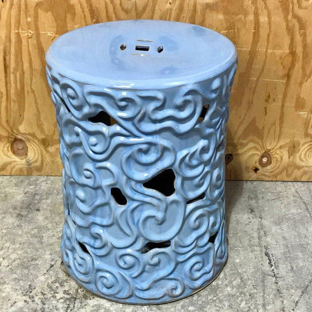 Pair of Chinese Export steel gray turquoise garden seats, for Gumps, Each one with pierced abstract body that tapers from...