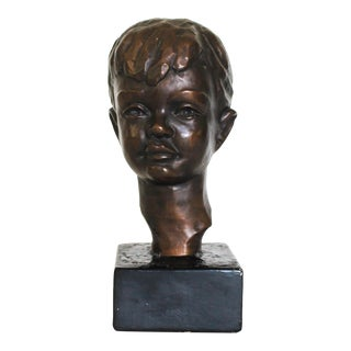 Vintage Sculpture of a Young Boy For Sale