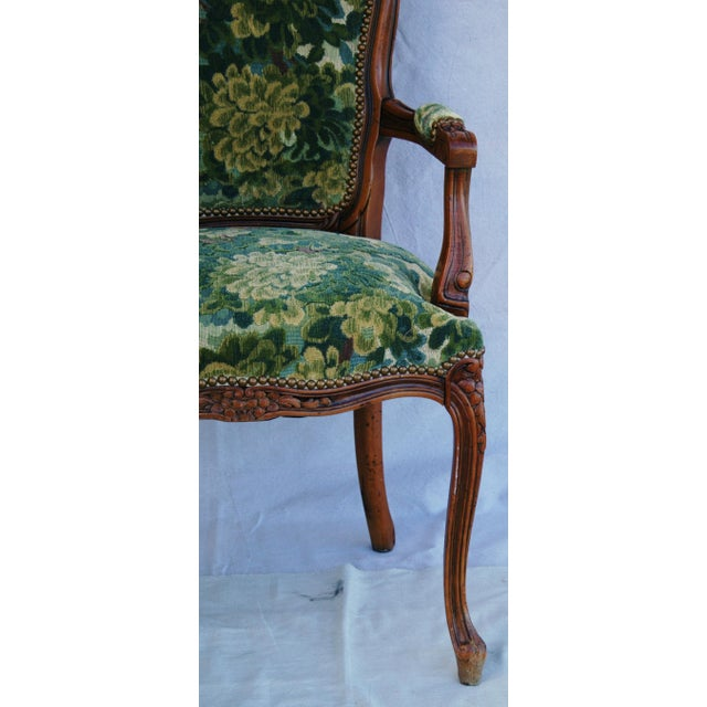 Scalamandre Scalamandre Marly Velvet Tapestry Fabric Walnut Armchair For Sale - Image 4 of 11