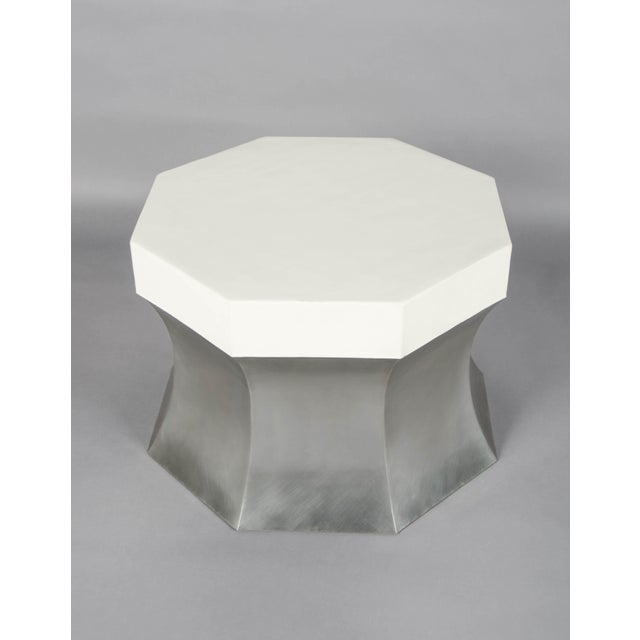 Robert Kuo Octagonal Side Table - Stainless Steel and Cream Lacquer For Sale - Image 4 of 4