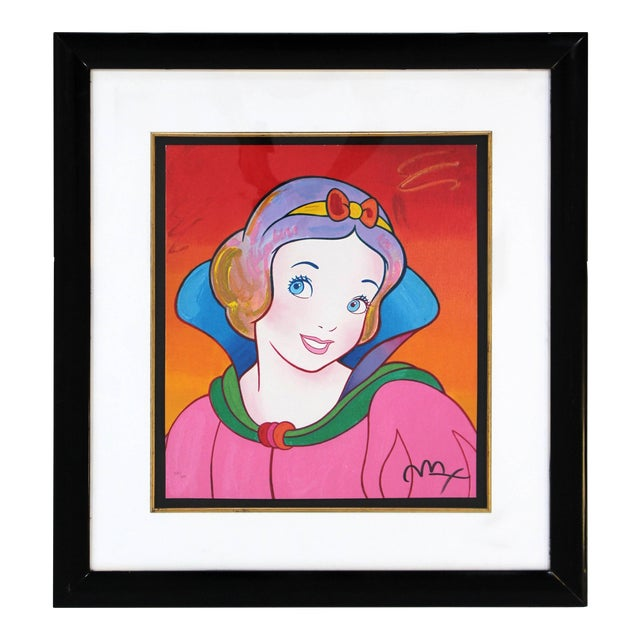 Contemporary Framed Print Snow White Signed Dated Numbered by Peter Max 1990s For Sale