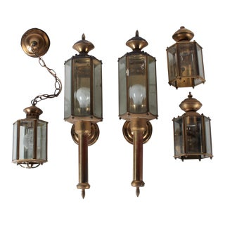 Outdoor Federal 6-Sided Wall Lanterns - Set of 5
