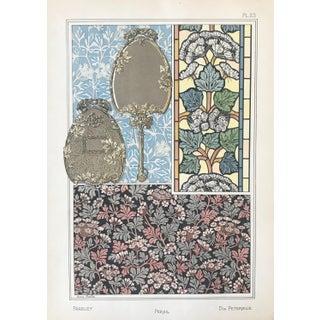 1896 French Decorator Pochoir, Art Nouveau Botanical Print, Parsley (Plate 23) For Sale