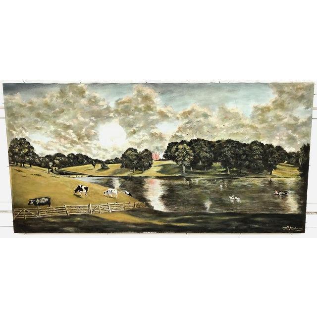 Canvas 1940s Vintage English Country Scene Painting For Sale - Image 7 of 7