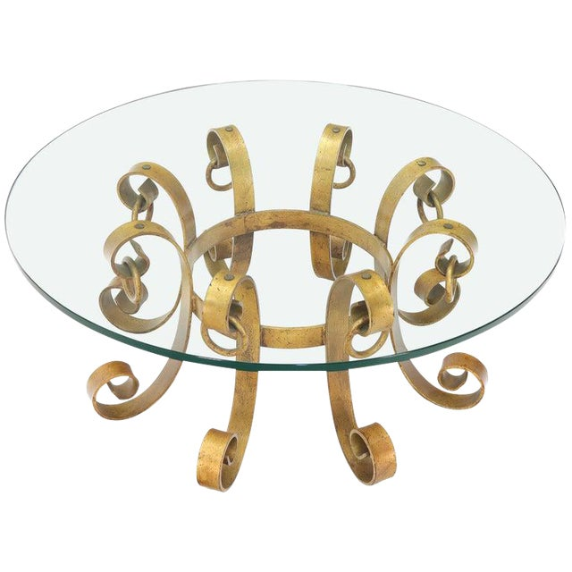 Round Decorative Gilt Wrought Iron Base Glass Top Sunburst Coffee Table For Sale