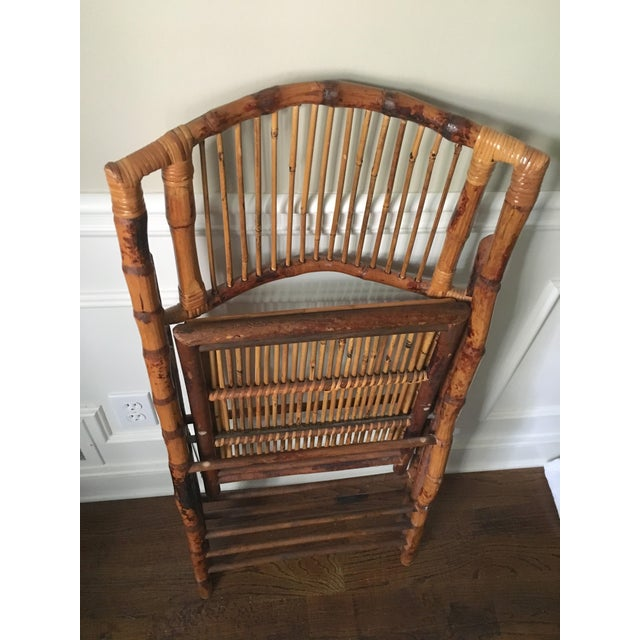 Wood Vintage Tortoise Bamboo Folding Chair For Sale - Image 7 of 9