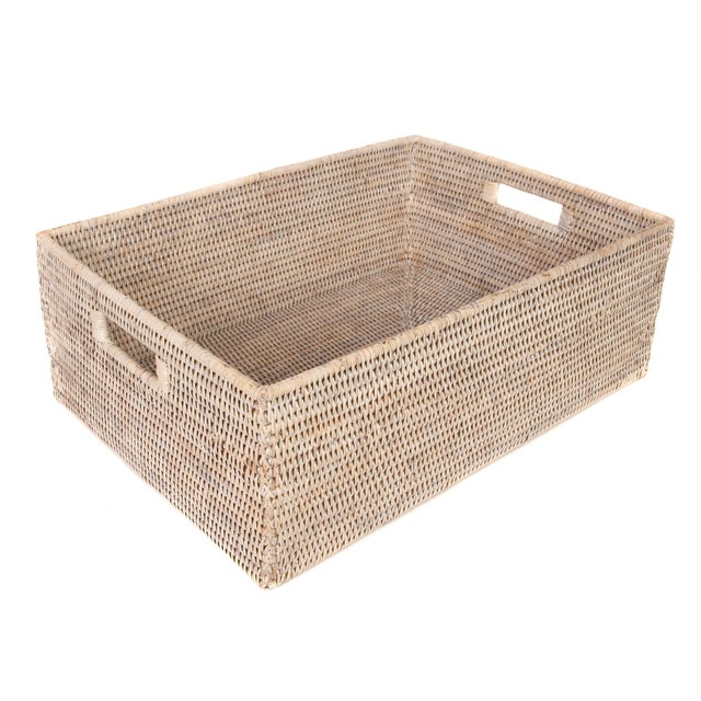 "2010s Artifacts Rattan Rectangular Basket 23x17x8"" For Sale - Image 5 of 5"