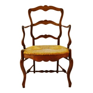 Vintage Ladder Back Rush Seat Arm Chair For Sale