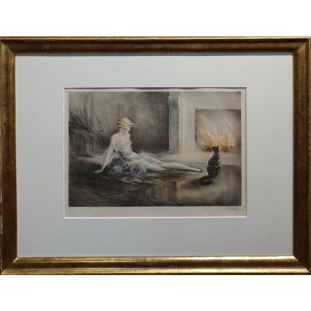"E. Naudy -Woman w/Cat by fireplace -Beautiful 1920s Art Nouveau Lithograph frame size 25 x 32"" paper size 12 x 18"" A..."