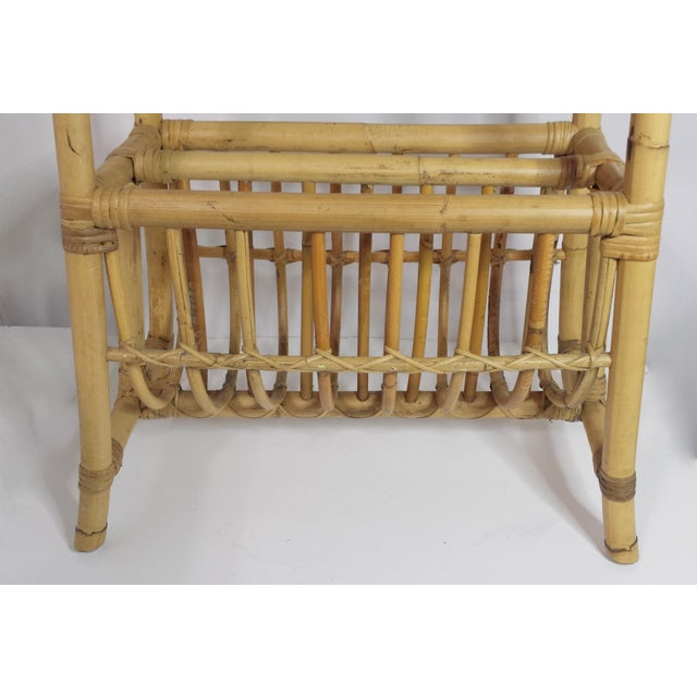Vintage Mid Century Bamboo Rattan Magazine Rack Side Table For Sale - Image 6 of 8