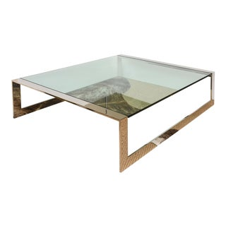 Breuton Stainless Steel and Glass Modernist Square Cocktail Table For Sale