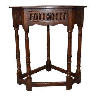 English Carved Corner Table For Sale