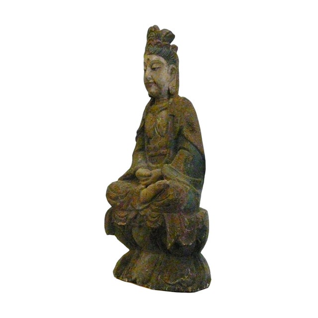 Chinese Rustic Distressed Wood Kwan Yin Statue For Sale - Image 5 of 6