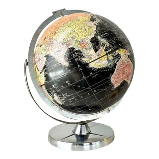 Vintage 1960s Black World Globe