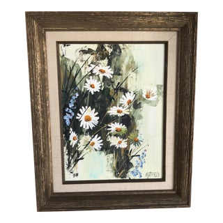 """Mid Century Modern Framed and Signed Floral Oil on Board Titled """"Field Grown"""" by Alice Satfield For Sale"""