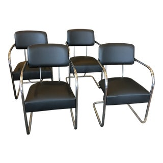 1950s Vintage Kem Weber Chrome and Leather Chairs- Set of 4 For Sale