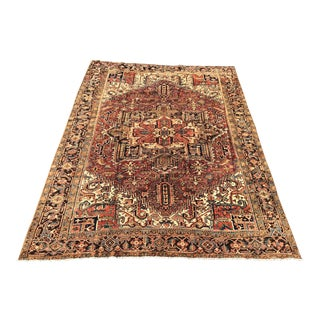 "Vintage Persian Heriz Large Area Rug - 9'5""x11'6"" For Sale"