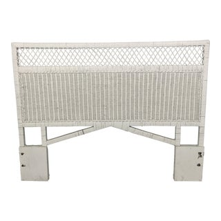 Vintage Henry Link Wrapped Rattan Trellis Queen Headboard For Sale