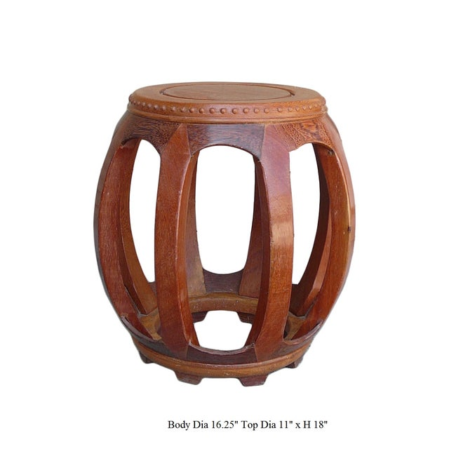 Chinese Solid Wood Huali Barrel Round Stool For Sale - Image 5 of 5