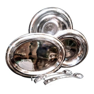 Towle Plated Silver Serving Set With Abalone Shell Inlay Tiled Trim - 5 Pc. Set For Sale