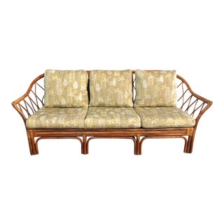 Vintage Rattan Sofa by Vanguard Furniture For Sale