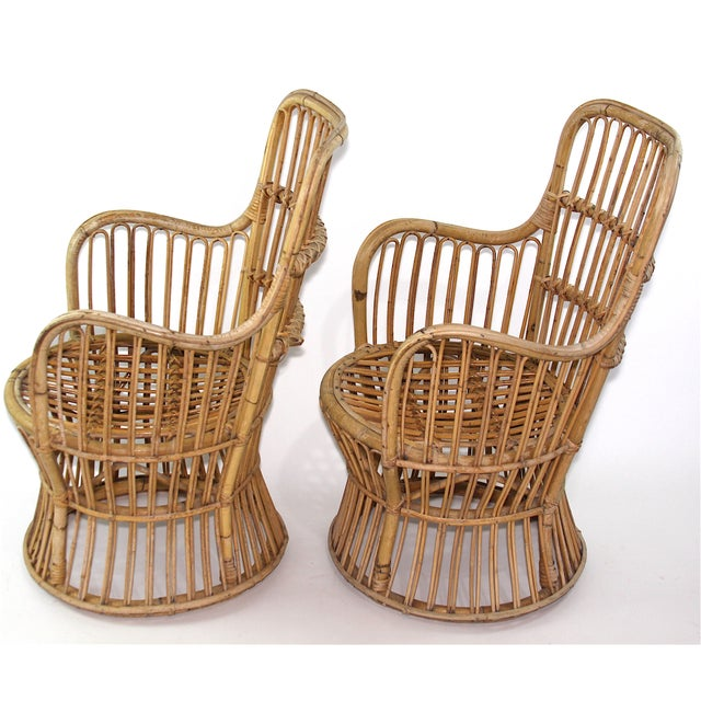 Franco Albini Style Rattan Chairs - A Pair - Image 6 of 11