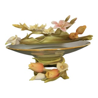Vintage Italian Mid- Century Glass and Porcelain Flowers Bowl Capodimonte For Sale