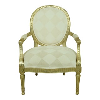 Modern French Style Silver Leaf & Gold Upholstered Open Armchair For Sale