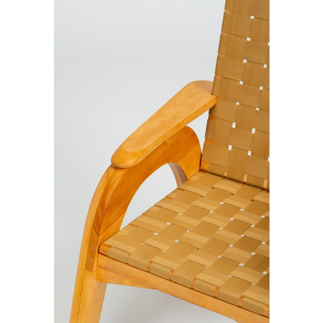 Bauhaus-Style Maple Lounge Chair With Nylon Webbed Seat For Sale - Image 11 of 12