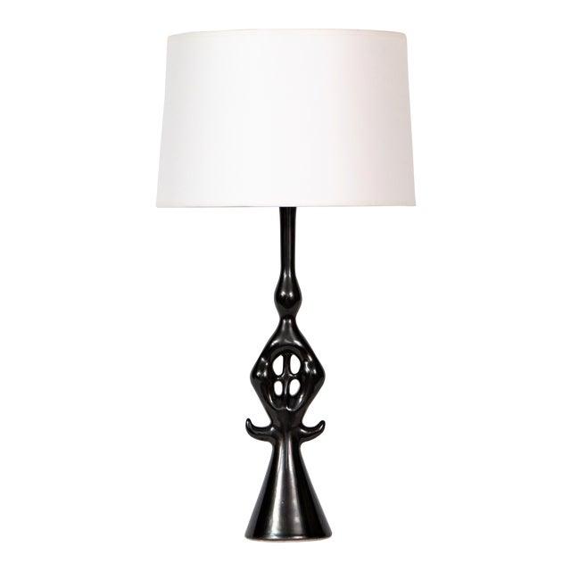 Roger Capron Lampe Noire Ceramic Table Lamp For Sale