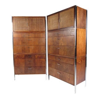 Mid-Century Pair of Walnut Highboy Dressers With Cane-Front Cabinet Doors For Sale