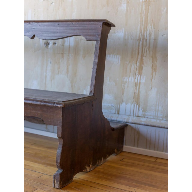Wood Italian Antique Church Pew For Sale - Image 7 of 12
