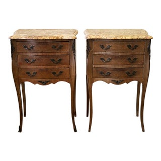 20th Century French Louis XV Style Wood Nightstands - a Pair For Sale