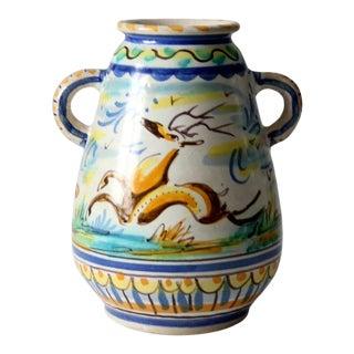 Vintage Majolica Pottery Vase For Sale
