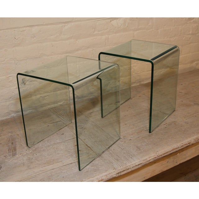Vintage French Glass Side Tables, a Pair For Sale - Image 4 of 5