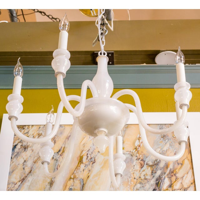 1960s White Glass Murano Chandelier For Sale - Image 5 of 6