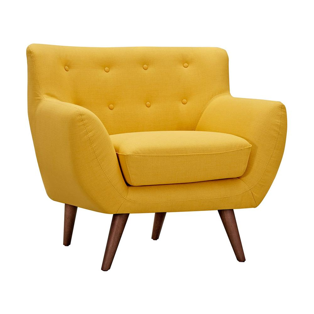 Superieur Mid Century Modern Tufted Yellow Chair Chairish