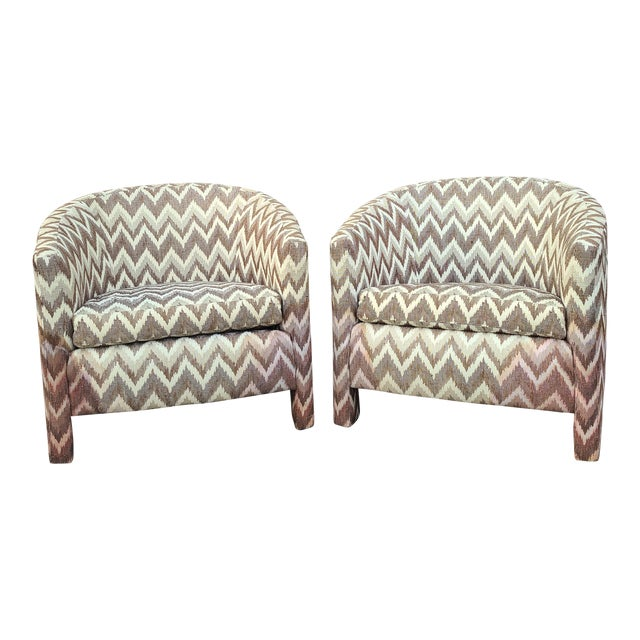 Milo Baughman for Founders Three Legged Barrel Chairs - a Pair For Sale
