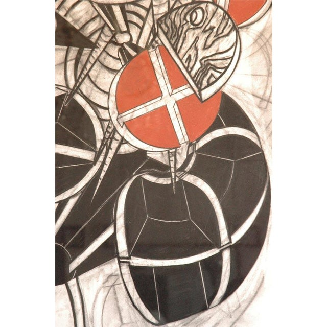 Abstract Large Charcoal and Vermilion Pastel Drawing by John Monti For Sale - Image 3 of 9