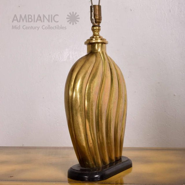 Hollywood Regency Brass Table Lamp For Sale In San Diego - Image 6 of 7