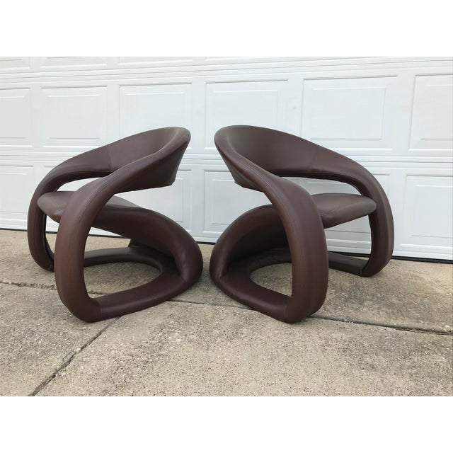 1990s Vintage Jaymar Memphis Sculptural Cantilever Lounge Chairs - a Pair For Sale - Image 9 of 9
