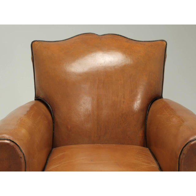Art Deco French Fully Restored Club Chairs in Original Leather - a pair For Sale - Image 3 of 10