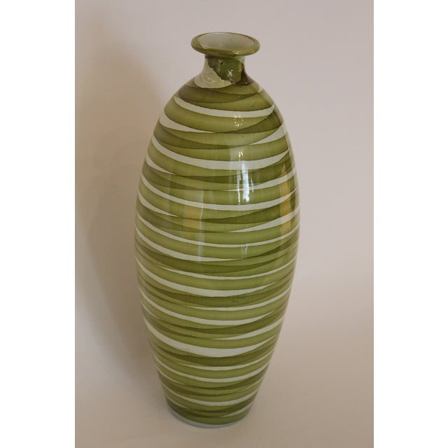 Boho Chic Spanish Painted Green Swirl Pattern Ceramic Vase For Sale - Image 3 of 5