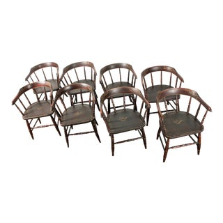 Hand-Painted Freemasons Masons Lodge Armchairs - Set of 8 For Sale