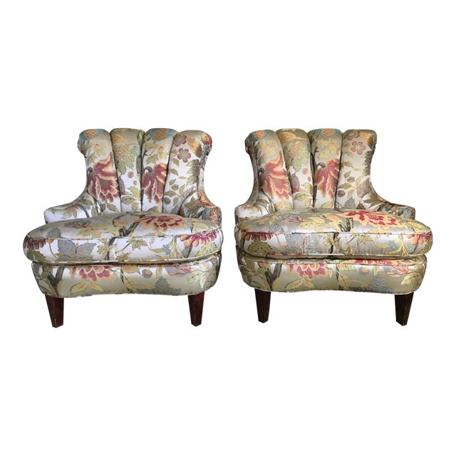 1940s Pullman Armless Floral Silk Upholstered Slipper Chairs - a Pair For Sale