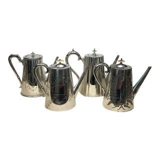 1870s English Victorian Silver Plated Coffee Pots Collection - Set of 4 For Sale
